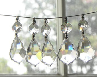 30 Leaded Cut Crystal French Pendants Chandelier Wall Sconce Suncatcher Candle LAMP PARTS 1.5""