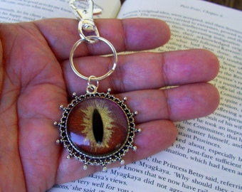 Dragon Eye Key Chain (KC605), Copper Brown and Gold Sparkle Holographic, Hand Painted Glass Eye, Silver Hardware