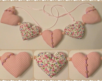 Ready to Ship - Heart Garland, Easter Garland, Handmade Hearts, Easter Gift, Spring Hearts, Home and Holiday, Handmade Easter Decoration