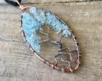 Tree of Life / Aquamarine / Aquamarine Pendant / Tree of Life Pendant / Wire Wrapped / Jewelry /  Necklace / Bohemian / Gift / Mothers Day