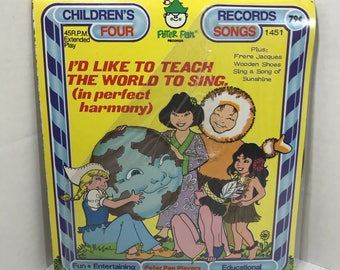 "I'd Like To Teach The World To Sing vintage record SEALED Peter Pan Records 7"" vinyl"