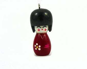Wooden - crimson red Japanese doll charm