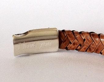 Engraving hidden inside the clasp, Custom mens bracelet, Personalized  Bracelet, Mens  Bracelet, leather bracelet for men, Secret Engraved