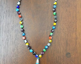 Evil eye beaded suade necklace