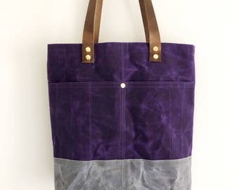 Waxed Canvas Tote Bag, Purple And Grey Tote, Everyday Bag