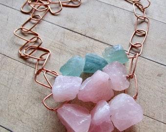 Rough cut Rose Quartz & Fluorite Cube ABACUS Copper Chain Necklace - Statement - Etsy Jewelry - catROCKS - Grace Frankie - OOAK - Pink Teal