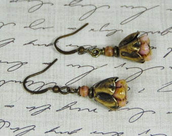 Antique Bronze Tulips with Pink Picasso Czech Bell Flower Earrings