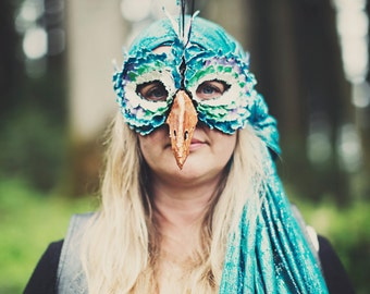 Paper Mache Peacock Mask
