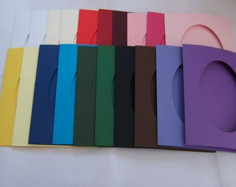 """Card Blanks, 5 Oval aperture cards, greeting cards blanks with 5 white envelopes, Aperture cards, 8 x 6 """", assorted colors"""