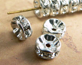 Crystal Rhinestone Wavy Rondelle Round Czech Glass Spacer Beads Transparent Silver Plated 7mm (12)