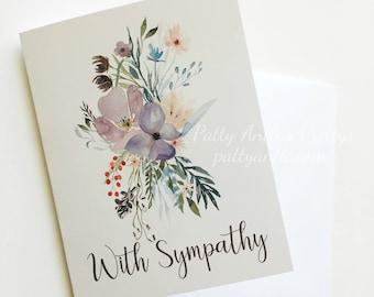 Sympathy Card, Floral Sympathy Card, Watercolor Floral Sympathy Card