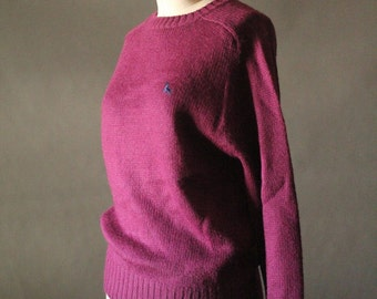 Vintage 80's Plum Knit Pullover Sweater by Crab Grass, size L