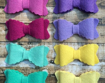 Scalloped Wool Felt Bows MEDIUM - Summer Delight Collection - Set of 16