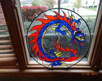 Stained glass dragon window/wall hanging