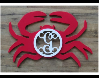 """Crab Door Hanger with Letter - Painted Wood - 22"""" size - Kitchen or Dining Room Decor - Wood Letter - Wall Hanging - Monogram"""
