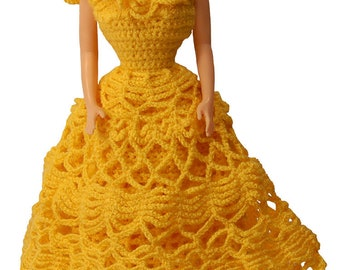 Barbie dress PDF Pattern, Barbie Patterns, Barbie dresses, Disney princess doll, crochet dress, Barbie doll clothes, Crochet Pattern, lace