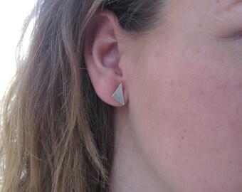 Triangle Stud Earrings, Minimalist Silver Earrings, Geometric Earrings, Sterling Silver Post Earrings, Triangle Earrings, Everyday Earrings