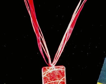 Red resin pendant necklace