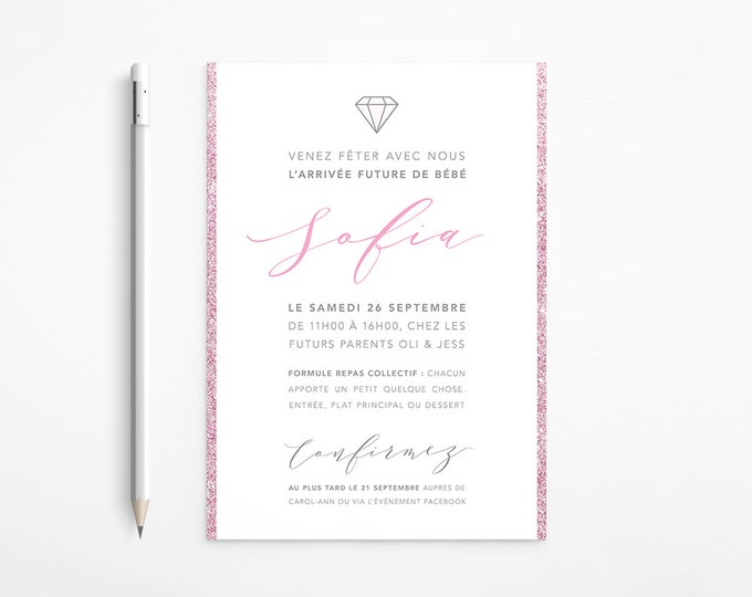 PRINTABLE - Pink and Grey Modern Baby Shower Invitation - Silver - Glitter - Diamond - Free changes