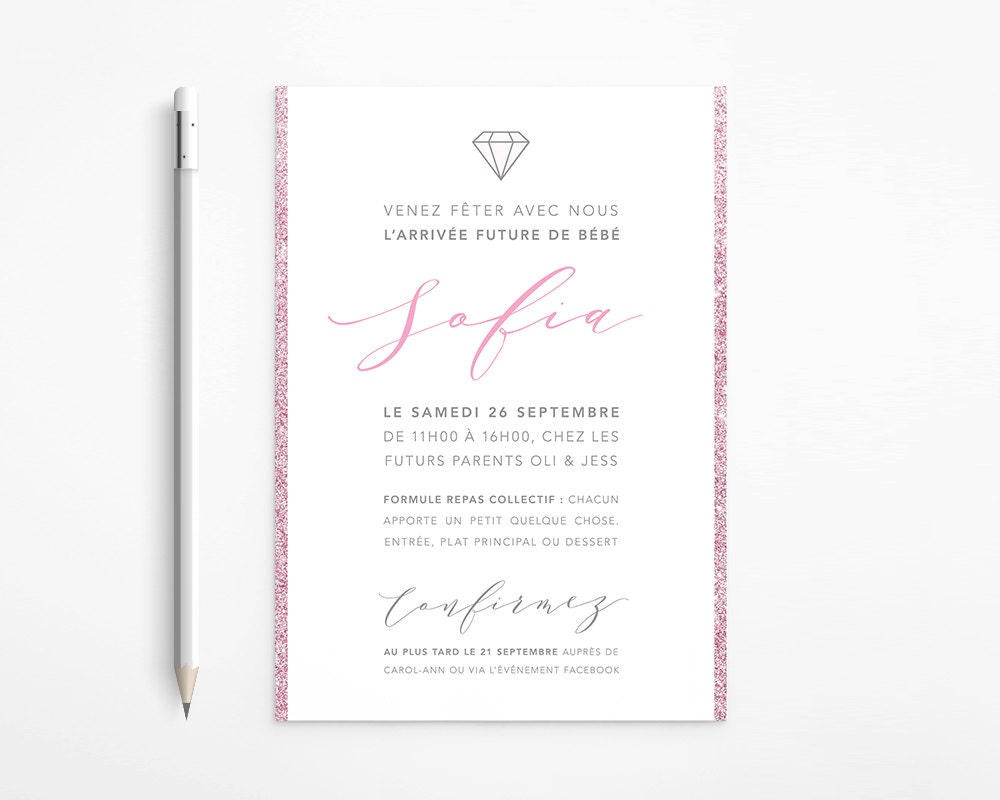 PRINTABLE - Pink and Grey Modern Baby Shower Invitation - Silver ...