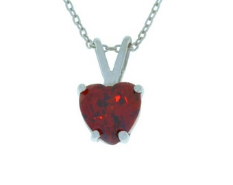 1 Carat Garnet Heart Pendant .925 Sterling Silver Rhodium Finish White Gold Quality