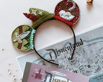 Peter Pan Neverland Mickey Mouse Ears Headband, Glitter Mouse Ears, Hard Headband, giddyupandgrow