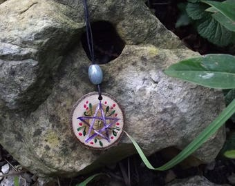 Fairy pentacle pendant-Nature-Mother Earth-  Fairy - Forest Witch- Goddess - Wicca-Druid-Pagan-celtic-magic-