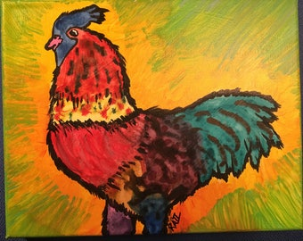 "colorful chicken rooster painting 8""x10"""
