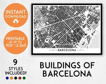 Buildings of Barcelona map art | Printable Barcelona map print, Barcelona print, Barcelona poster, Barcelona art, Barcelona Spain wall art