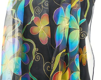 Bright flowers  black silk scarf Hand Painted Chiffon red orange blue green turquoise gold. Long sheer silk. Multicolored tropical scarf .