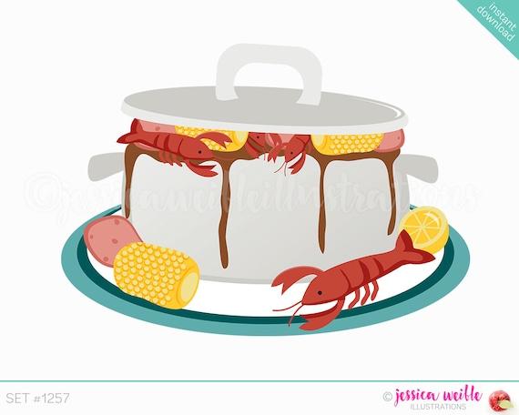instant download cajun pot cute digital clipart crawdad boil clip rh etsystudio com Shrimp Drawing Oyster Clip Art