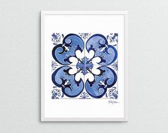 Azulejo Portuguese Tile Art, Talavera Tile Print, Moroccan Tile Art, Blue Tile Painting, Unique Art Gift