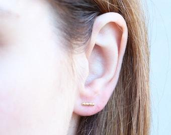 Gold Vermeil Beaded Bar Stud Earrings|Minimalist Earrings|Line Earrings|Minimal |Simple Earrings|Post Earrings|Modern| Contemporary |Spheres