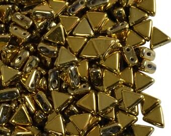 50pcs Kheops Par Puca Beads  - czech pressed 2-hole glass beads, Triangle, 6 mm, Full Dorado (KP014)