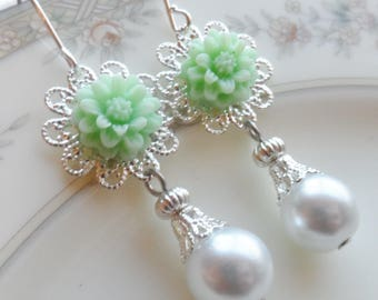 75% Off Price Sale, Mint Green, Mum Flower, Silver Filigree, Faux White Pearl Bead