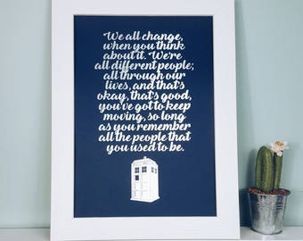 A4/A3 Doctor Who Quote Print - Doctor Who Tardis Art - Doctor Who Poster - Doctor Who Gifts Home Decor - Tardis Print