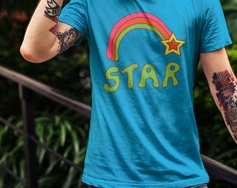 Retro Rainbow Seventies Boho Shirt Graphic Tee Unisex T-shirt  Shooting Star Design 70s Vintage Design
