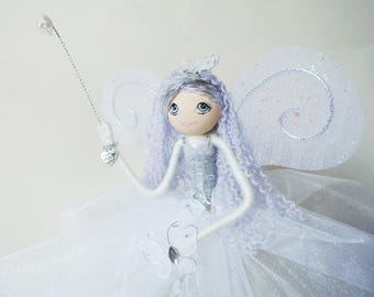 Handmade and unique Fairy Godmother decoration - fairy art doll - Wendy-Ann - can also be used as a tree topper