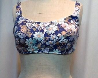 1960's vintage floral cotton swim sun bra top/summer/Gidget/beach