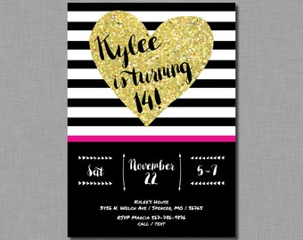 Gold Glitter Birthday Invitation teen adult pink FB11 Digital or Printed