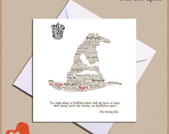 Personalised Harry Potter Card - Sorting Hat - Birthday Christmas Anniversary