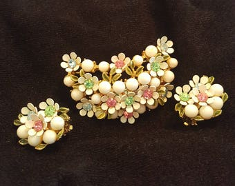 Milk Glass and Rhinestone Floral Brooch and Earring Set