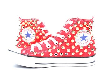 Original Converse AllStar Chuck Taylor high top studded  Converse stud GOLD spike on RED Shoes