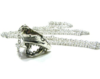 Shark Head Necklace - Long Silver Charm Necklace w/ Super Rad Hinged Chomping Jaw - Men's Or Women's Unisex Fashion