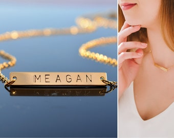 Personalized Gold bar necklace Bar necklace Gold name plate necklace Initial necklace Custom Name necklace Personalzied gifts