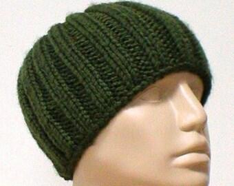 Army green ribbed headband, army loden green cowl, dread band, mens womens headband, knit cowl, knit headband, ski toboggan, biker hiking