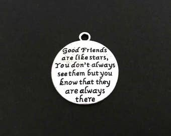Friendship Charm. Lot of 1 / 5 / 10 / 20 / 30 Pcs Silver Plated Word Charms.Long Distance Friendship Charm. DIY Craft Supplies.