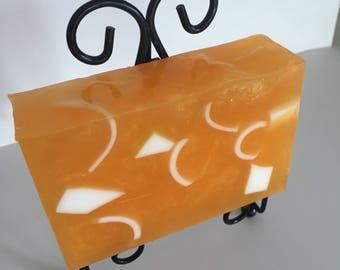 Tangerine scented Goat's milk and Olive oil glycerin soap.
