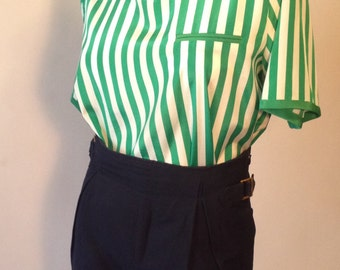 Vintage Green and White Stripe Shirt
