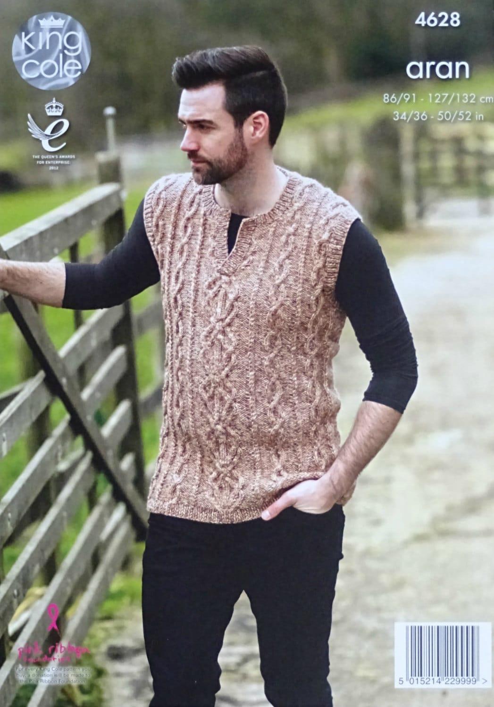 Mens Knitting Pattern K4628 Mens Sleeveless Open Neck Cable Jumper ...